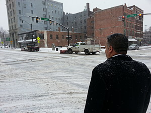 In this 2014 file photo, Mayor David watched as crews plowed Court Street. (Photo: Bob Joseph/WNBF News)