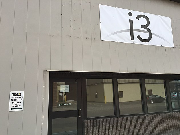 "An ""i3"" sign now appears on the former VMR Electronics building on Eldredge Street in Binghamton. [Bob Joseph/WNBF News]"