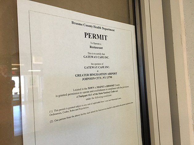 A permit issued by the Broome County Health Department remains posted at the closed Gateway Cafe. [Bob Joseph/WNBF News]