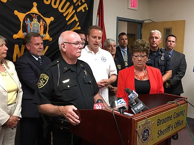 Sheriff David Harder, District Attorney Stephen Cornwell and County Executive Debra Preston at a news conference on July 28, 2016. [Bob Joseph/WNBF News]
