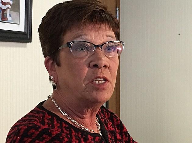 Broome County Executive Debra Preston answering questions from reporters on October 11, 2016. (Bob Joseph/WNBF News)