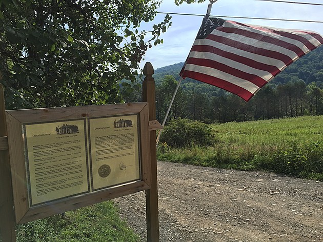 An American flag at the entrance to Islamberg in Delaware County. (Photo: Bob Joseph/WNBF News)