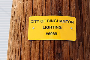 This tag on a utility pole serves as the only visible clue that part of Beverly Place is in Binghamton. (Photo: Bob Joseph/WNBF News)