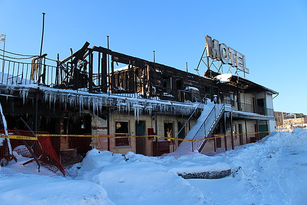 Fire tore through much of the Skylark Motel on March 14, 2017. (Photo: Bob Joseph/WNBF News)