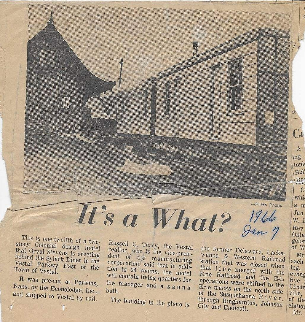 A clipping of a story from The Evening Press about the planned Skylark Motel. (Provided by Walt Stevens)