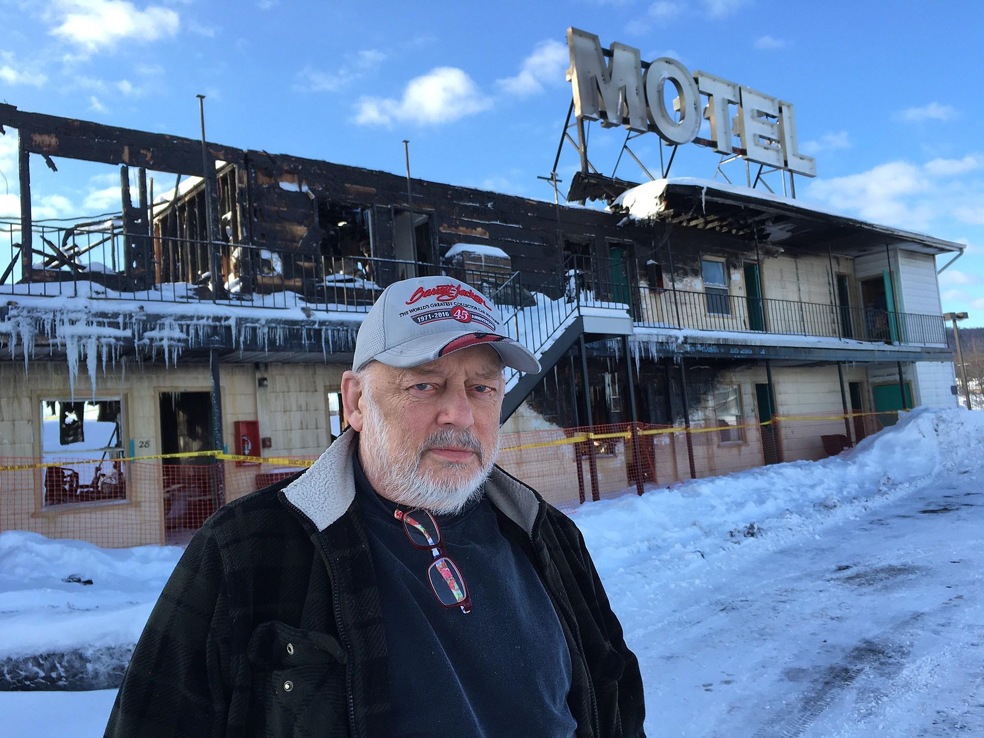 Walt Stevens stands near the fire-damaged Skylark Motel on March 16, 2017. (Photo: Bob Joseph/WNBF News)