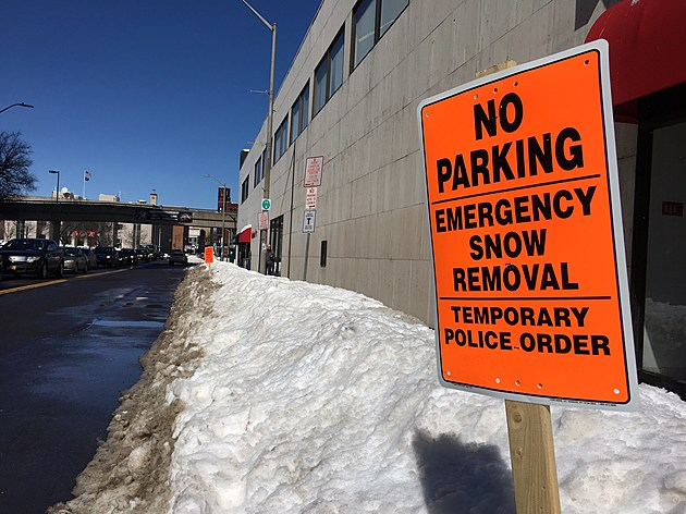 Parking was banned along State Street in Binghamton for snow removal operations. (Photo: Bob Joseph/WNBF News)