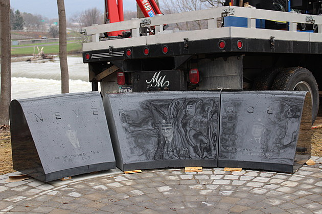 Three granite stones bear the names of the firefighters who died in September 1975. (Photo: Bob Joseph/WNBF News)