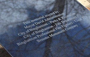 The inscription on a six-foot marker which will be in the center of the memorial. (Photo: Bob Joseph/WNBF News)