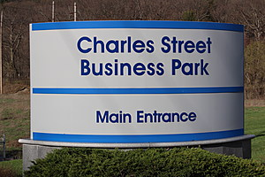 One of the signs at the abandoned Binghamton business park. (Photo: Bob Joseph/WNBF News)