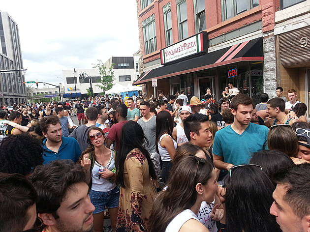 A crowd gathered on State Street in Binghamton during the 2014 Bar Crawl. (Photo: Bob Joseph/WNBF News)