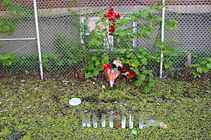A memorial at the site where Brandon Hernandez was killed on April 22, 2017. (Photo: Bob Joseph/WNBF News)