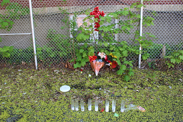 A memorial at the site where Brandon Hernandez was killed on April 22, 2017. (Photo: Bob Joseph/WNBF News)