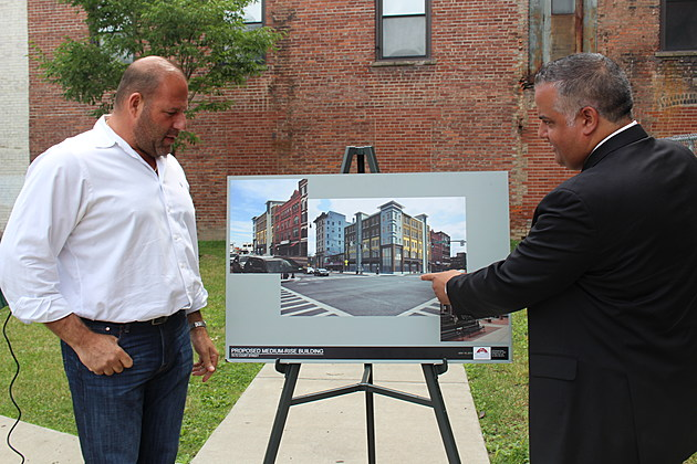 Mark Yonaty and Mayor Richard David on the site of the proposed project on June 27, 2017. (Photo: Bob Joseph/WNBF News)