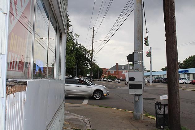 Drivers on Robinson Street must pull past crosswalk to view traffic on Chenango Street. (Photo: Bob Joseph/WNBF News)
