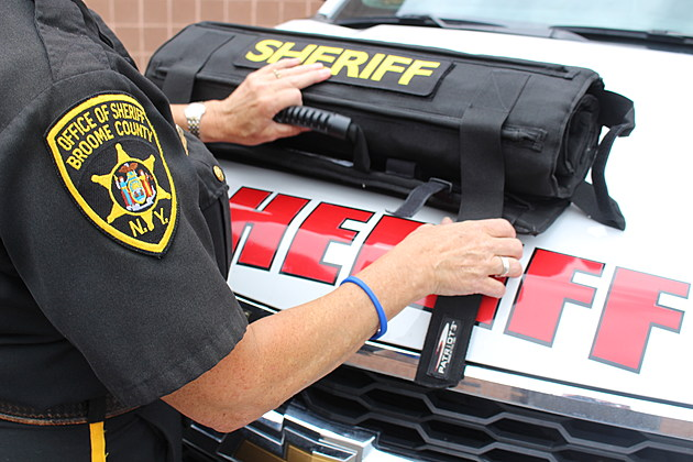 A protective blanket shield can be rolled up for storage in a patrol vehicle. (Photo: Bob Joseph/WNBF News)
