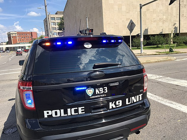 A Binghamton police patrol car at the intersection of Hawley and State streets. (Photo: Bob Joseph/WNBF News)