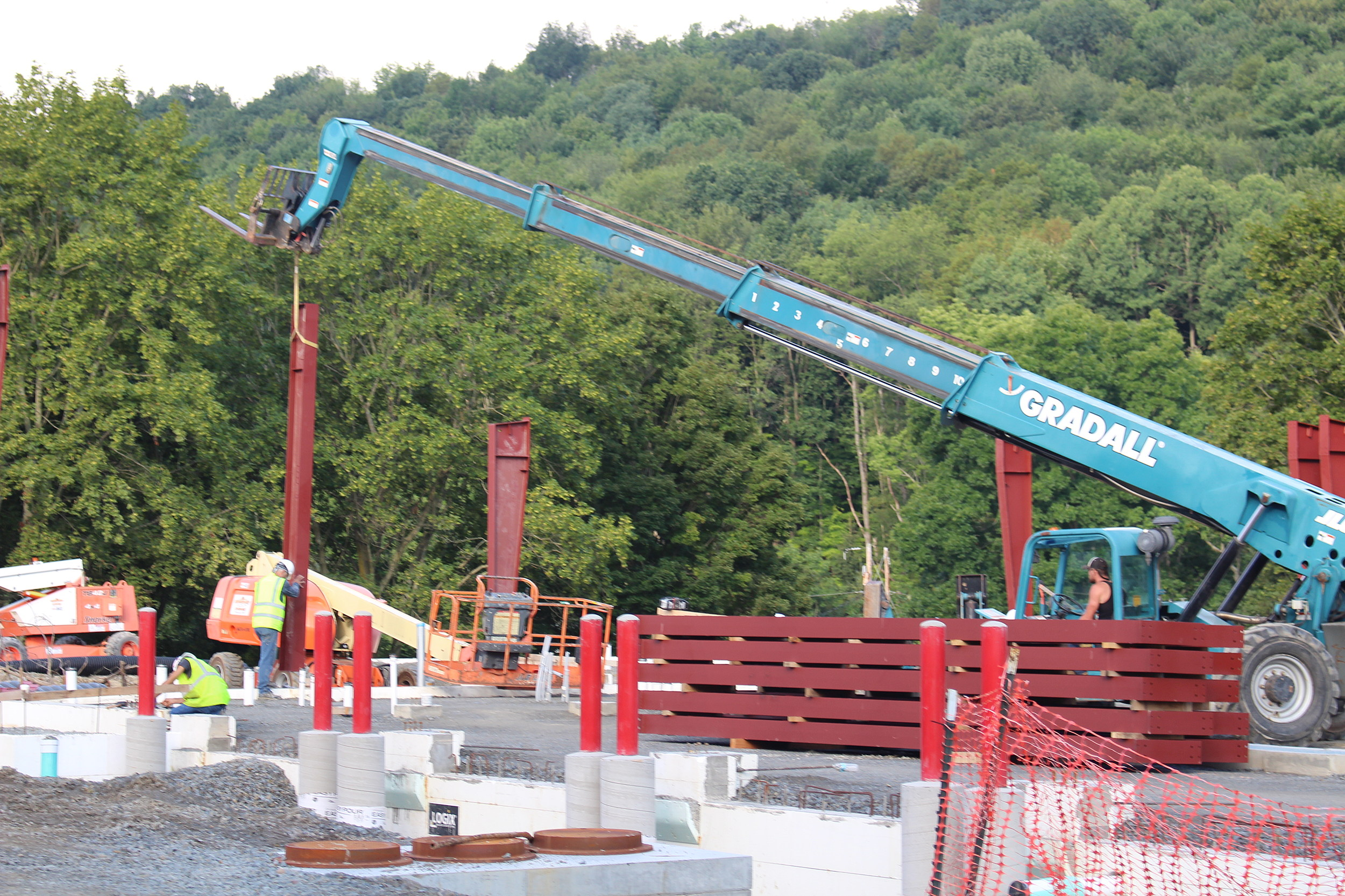 A steel section being put into place at the site of the future Apalachin Fire Station on August 8, 2017. (Photo: Bob Joseph/WNBF News)
