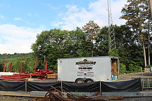 A construction trailer on the site of the Apalachin project. (Photo: Bob Joseph/WNBF News)