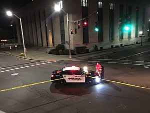 Crime tape was set up near the Binghamton Federal Building at Henry and State streets. (Photo: Bob Joseph/WNBF News)