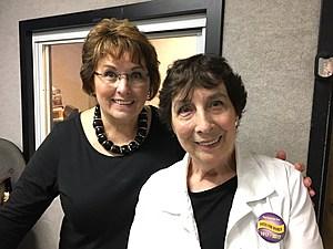 "Tioga County legislature chair Martha Sauerbrey and county historian Emma Sedore at the ""Binghamton Now"" radio studio. (Photo: Bob Joseph/WNBF News)"
