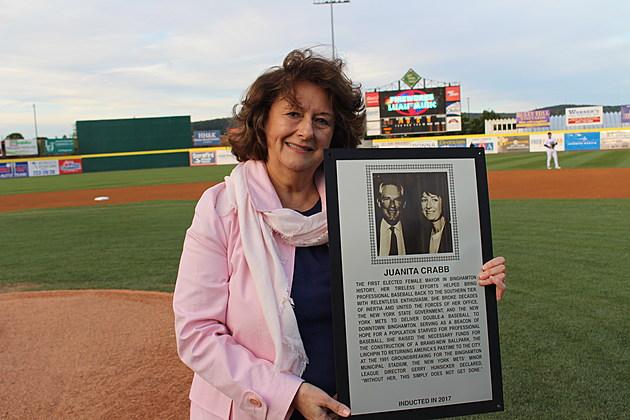 Former Binghamton mayor Juanita Crabb at the downtown stadium on September 1, 2017. (Photo: Bob Joseph/WNBF News)