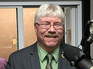 Johnson City mayor Greg Deemie during a March 2017 radio interview. (Photo: Bob Joseph/WNBF News)