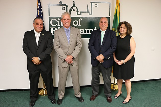 Mayor Richard David along with former mayors Matthew Ryan, Richard Bucci and Juanita Crabb on September 1, 2017. (Photo: Binghamton City Hall)