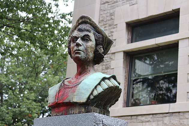 Red paint was used to deface a bust of Christopher Columbus in downtown Binghamton. (Photo: Bob Joseph/WNBF News)