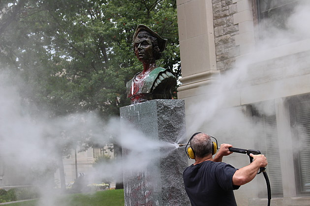 A Broome County employee used a pressure washer to remove paint from the Christopher Columbus monument in Binghamton. (Photo: Bob Joseph/WNBF News)