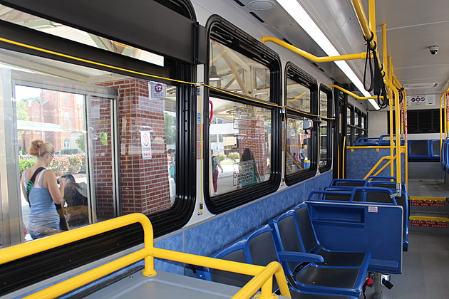 Aboard one of the recently-acquired BC Transit buses on September 21, 2017. (Photo: Bob Joseph/WNBF News)