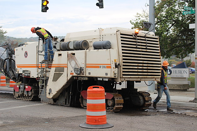 Pavement milling operations on North Street near entrance to Huron Campus on October 6, 2017. (Photo: Bob Joseph/WNBF News)
