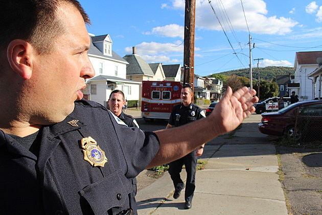 Binghamton police on Rutherford Street following a disturbance on October 10, 2017. (Photo: Bob Joseph/WNBF News)