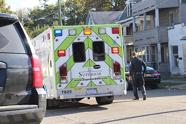 Binghamton police and a Superior ambulance on Tudor Street on October 10, 2017. (Photo: Bob Joseph/WNBF News)