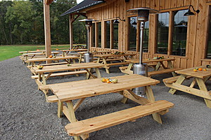 Picnic tables outside the tasting room in Port Crane. (Photo: Bob Joseph/WNBF News)