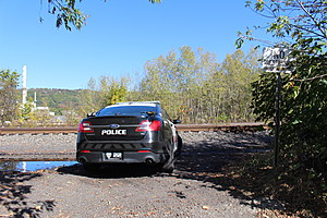 A Binghamton police car parked near railroad tracks during the search for a robbery suspect. (Photo: Bob Joseph/WNBF News)