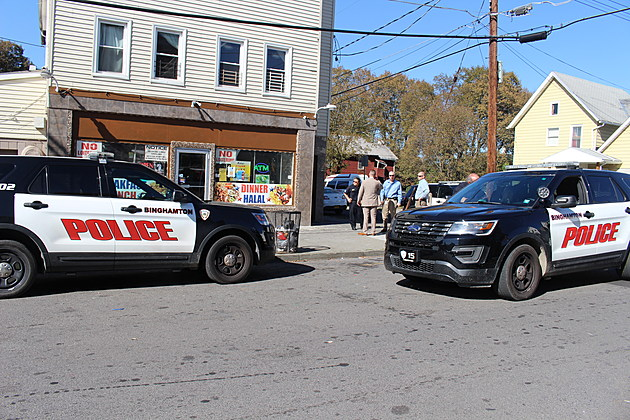 Binghamton police outside a West Side store after a reported robbery on October 18, 2017. (Photo: Bob Joseph/WNBF News)