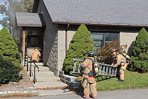 Firefighters outside the Bridgewater Church youth building. (Photo: Bob Joseph/WNBF News)