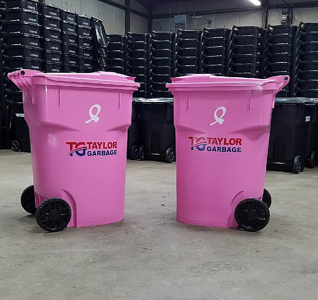 Taylor Garbage Uses Pink Trash Cans For Breast Cancer Help