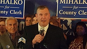 Joseph Mihalko speaking at a Republican gathering after being elected Broome County clerk. (Photo: Roger Neel/WNBF News)