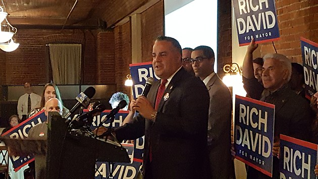 Binghamton Mayor Richard David speaking to supporters after winning a second term on November 7, 2017. (Photo: Roger Neel/WNBF News)